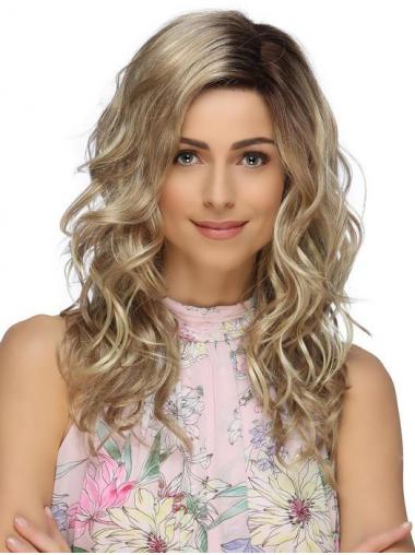 Top Syntetisk Blond Bølge Lang Lace Front Paryk