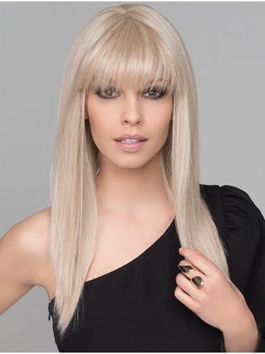 "16"" Lang Glat Blond No-ballade Mono Paryk"