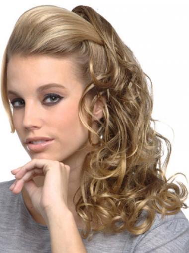 Blond Lang Syntetisk Krøllet Rabat Clip in Hårstykker