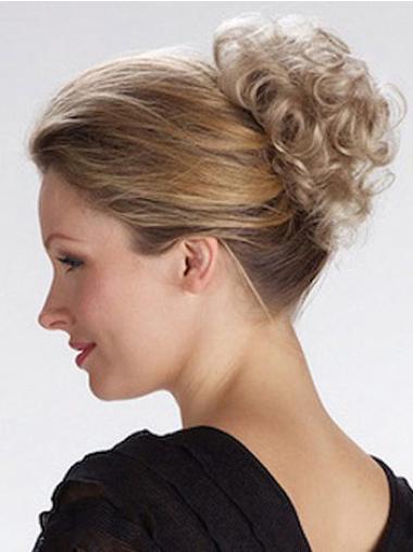 Blond Kort Syntetisk Krøllet Fabelagtig Clip in Hårstykker