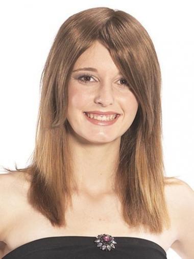 Glat Lang Brun Ægte Hair Hårstykker