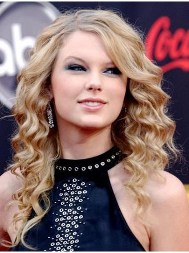 "Krøllet 18"" Blond Capless Uden Pandehår Taylor Swift Paryk"