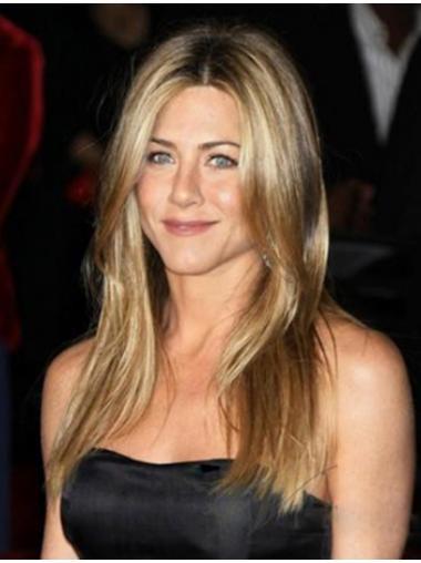 """Blond Monofilament Glat Uden Pandehår Lang 18"""" Jennifer Aniston Parykker"""