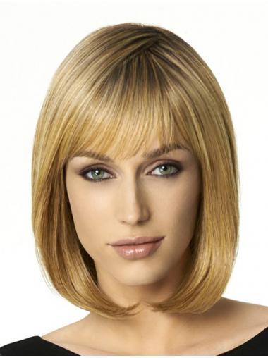 """Blond Syntetisk Glat Bob 12"""" Mellem Parykker"""