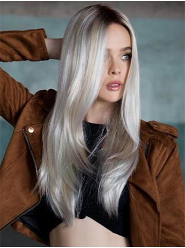"""Lang Glat 18"""" Ombre Syntetisk Lace Front Parykker"""