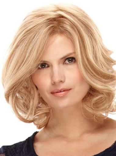 """Mellem 12"""" Blond Krøllet Lace Front Parykker af ægte hår"""