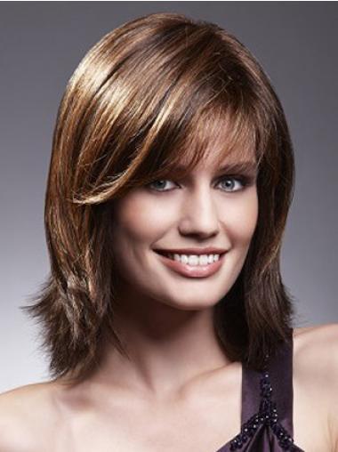 """Brun 10"""" Glat Med Pandehår Lace Front Parykker af ægte hår"""
