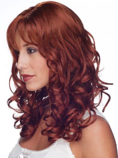 """Rød 16"""" Krøllet Med Pandehår 100% Hand-tied Parykker af ægte hår"""