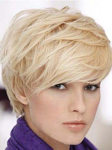 """Blond 6"""" Glat Capless Kort Ægte Parykker Til Kvinder"""