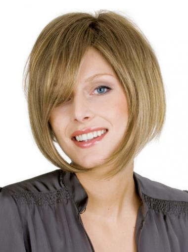 """Mellem Glat Bob 10"""" Blond Ægte Parykker Til Kvinder"""