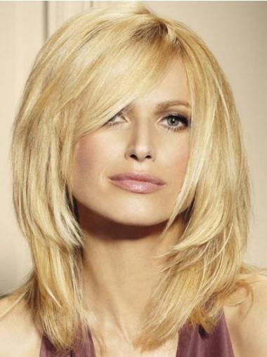 Gorgeous Glat Mellem Blond Ægte Hår Paryk