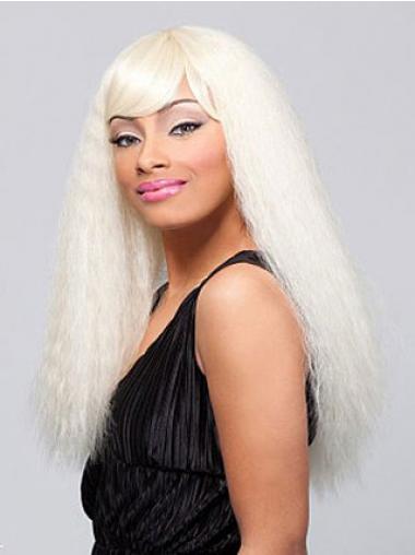 Blond Lang Glat Med Pandehår Indiske Ægte Hår Parykker