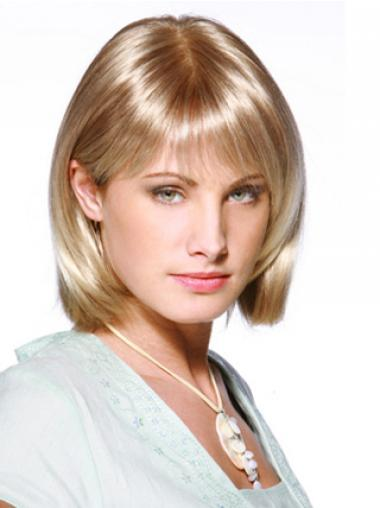 """8"""" Blond Syntetisk Mellem Lace Front Glat Bob Parykker"""