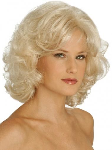 """Blond 10"""" Mellem Syntetisk Krøllet Capless Klassiske Parykker"""