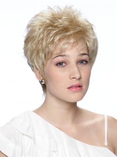 """Perfektionere Bølge Kort 6"""" Syntetisk Capless Blond Hår Parykker"""