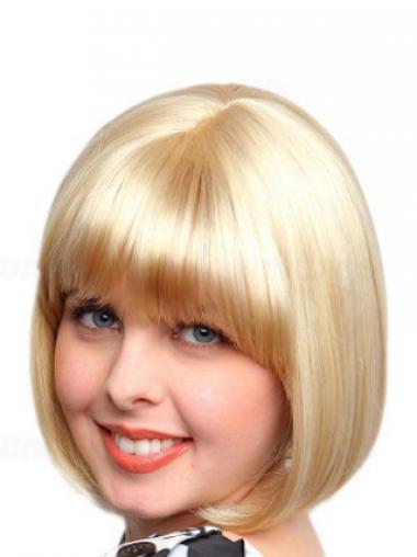 """Mellem Bob Capless Glat 10"""" Syntetisk Blond Hår Parykker"""
