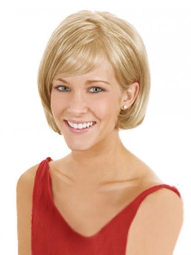"""6"""" Blond Syntetisk Mellem Lace Front Glat Bob Parykker"""