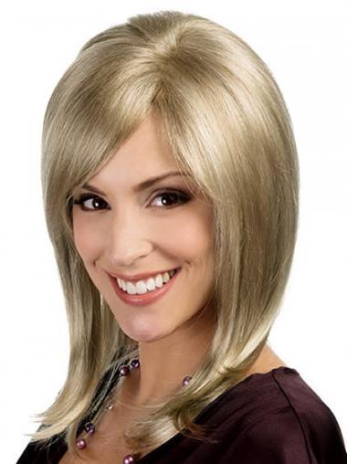"Syntetisk Blond Mellem 15"" Glat Monofilament Blonde Parykker"