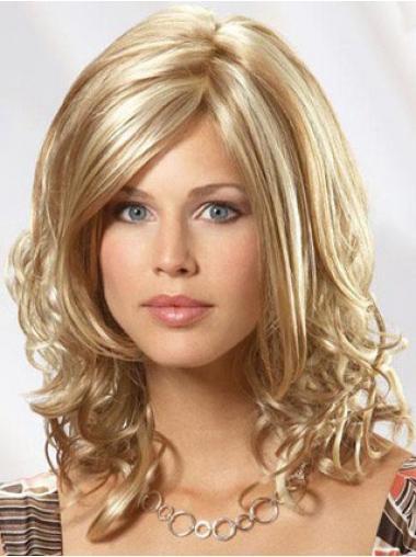 """100% Hand-tied Uden Pandehår 14"""" Blond Bølge Parykker af ægte hår"""