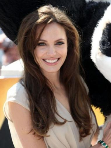"Brun 18"" Glat Monofilament Uden Pandehår Angelina Jolie Parykker"
