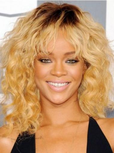 "14"" Blond Syntetisk Mellem Krøllet Capless Rihanna Parykker"