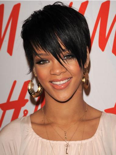 "4"" Sort Indiske Ægte Hår Kort Glat Capless Rihanna Paryk"