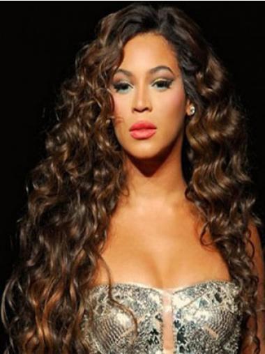 "Lang 26"" Rødbrun Brasiliansk Ægte Hår Krøllet Uden Pandehår Beyonce Paryk"