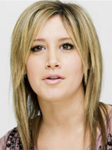"Blond 14"" Glat Capless Mellem Ashley Tisdale Parykker"
