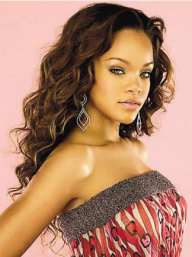 """Lang 22"""" Rødbrun Krøllet Lace Front Uden Pandehår Rihanna Paryk"""