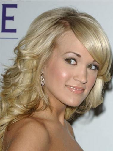 """Capless Bølge Med Pandehår Mellem 14"""" Blond Carrie Underwood Parykker"""