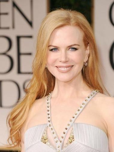 """Uden Pandehår Bølge 24"""" Blond Syntetisk Lang Nicole Kidman Paryk"""