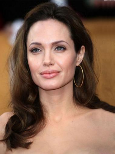 """Brun 16"""" Bølge 100% Hand-tied Uden Pandehår Angelina Jolie Parykker"""