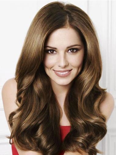 "Lang Bølge Capless 20"" Brun Cheryl Cole Paryk"