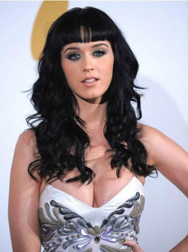 Sort Lang Bølge Med Pandehår Katy Perry Parykker