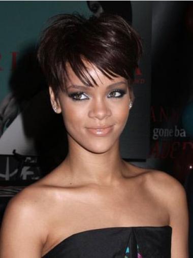 "6"" Rødbrun Syntetisk Kort Glat Capless Rihanna Paryk"