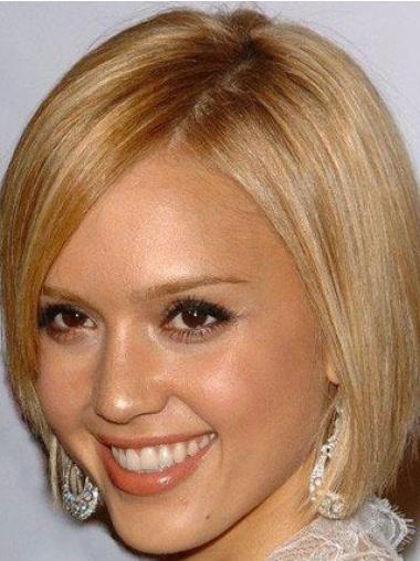 "Mellem Bob 100% Hand-tied 8"" Blond Glat Jessica Alba Paryk"
