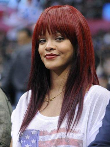 "Indiske Ægte Hår Lang Glat Capless 18"" Rød Rihanna Paryk"