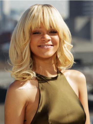 "Syntetisk Mellem Krøllet Capless 14"" Blond Rihanna Parykker"
