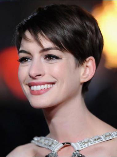 "Brun 4"" Glat Lace Front Kort Anne Hathaway Paryk"