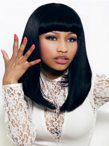 "Sort Syntetisk Mellem Glat Med Pandehår 16"" Nicki Minaj Parykker"