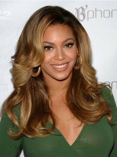"""Lang 18"""" Brun Brasiliansk Ægte Hår Bølge Uden Pandehår Beyonce Parykker"""