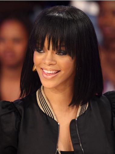"""Bob Capless 12"""" Sort Mellem Glat Rihanna Parykker"""