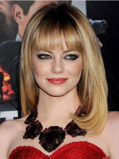 "Capless Glat Med Pandehår Mellem 16"" Blond Emma Stone Parykker"