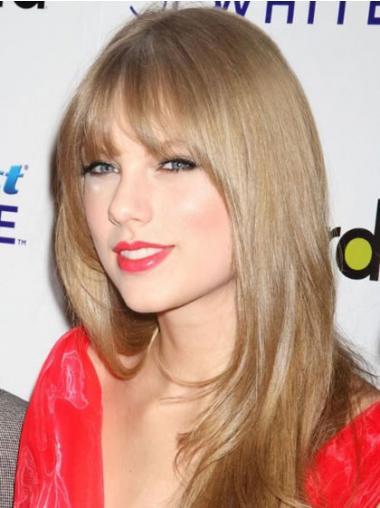 """Frisurer Glat Blond 20"""" Lang Capless Med Pandehår Taylor Swift Paryk"""