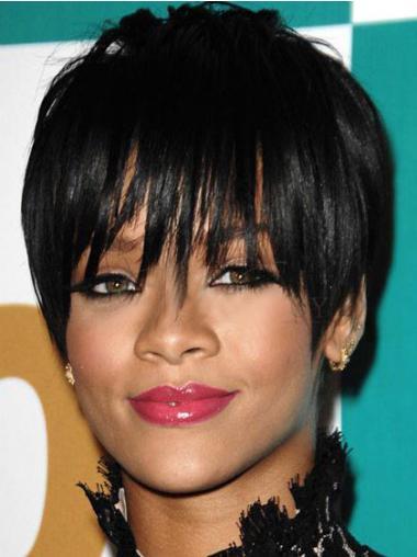 """6"""" Sort Syntetisk Kort Glat Capless Rihanna Paryk"""