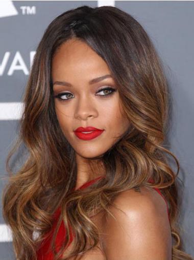 """Lang 24"""" Brun Bølge Lace Front Uden Pandehår Rihanna Paryk"""