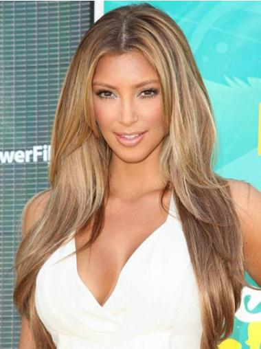 "Blond Monofilament Glat Uden Pandehår Lang 24"" Kim Kardashian Paryk"
