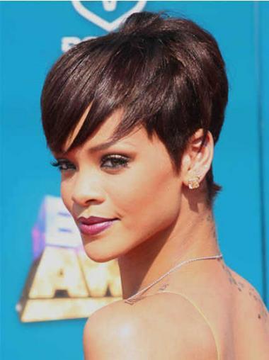 "5"" Rødbrun Syntetisk Kort Glat Capless Rihanna Paryk"