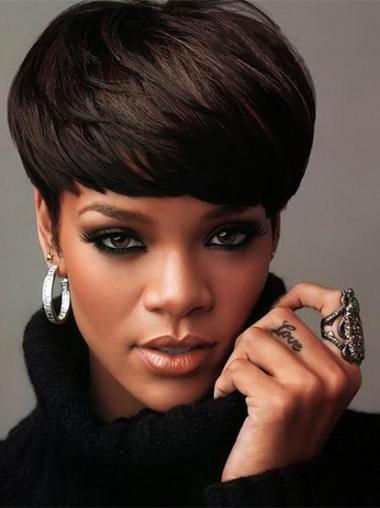"5"" Sort Indiske Ægte Hår Kort Glat Capless Rihanna Paryk"