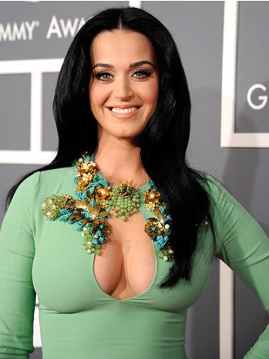 "Sort Capless Glat Uden Pandehår Lang 20"" Katy Perry Paryk"